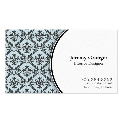 Elegant Interior Designer Business Card - Damask