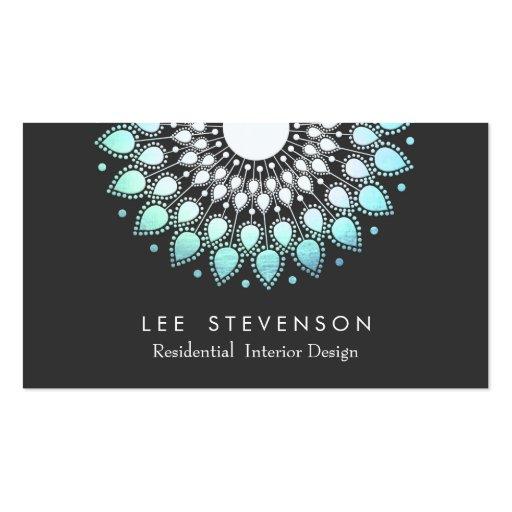 Elegant Interior Designer Ornate Foil Look Motif Business Card Template