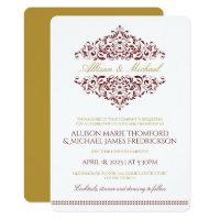 Elegant Invitation   Charlene (Burgundy & Gold)