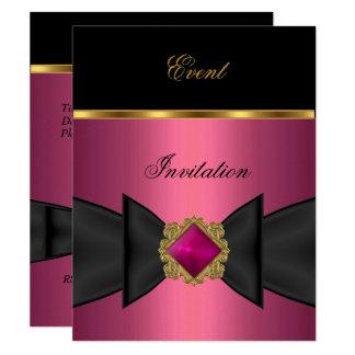 Elegant Invitation Pink Black Gold Bow Jewel