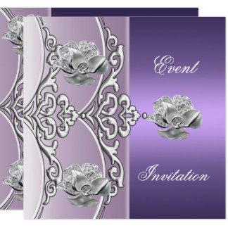 Elegant Invitation Purple Mauve Silver Floral