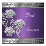 Elegant Invitation Purple Silver Floral Jewel Invites