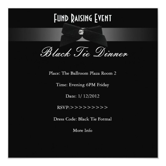 Elegant Invite Fundraiser Formal Black Tie  Zazzle