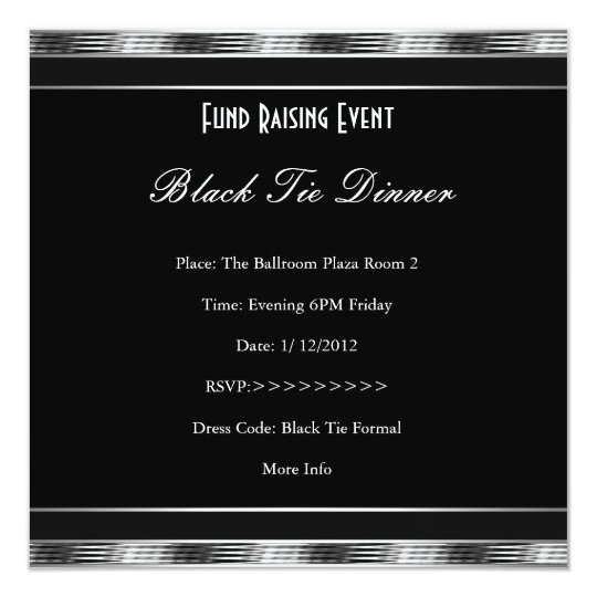 Elegant Invite Fundraiser Formal Silver Black Tie