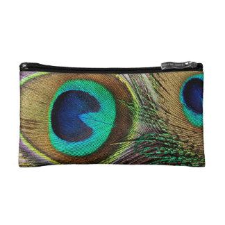 Elegant Iridescent Peacock Feather Makeup Bag