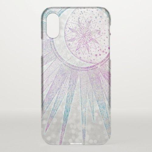 Elegant Iridescent Sun Moon Mandala Silver Design Phone Case