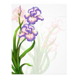 Elegant Iris Flowers Letterhead