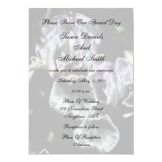 "Elegant Iris Pair Floral Wedding Invitation 5"" X 7"" Invitation Card"