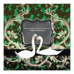 Elegant Irish vintage engagement shamrock 5.25x5.25 Square Paper Invitation Card