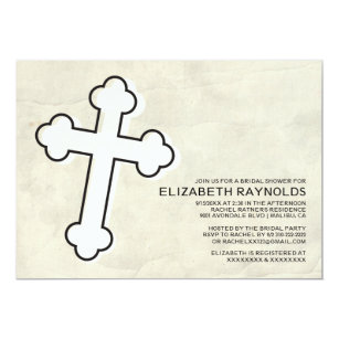 elegant iron cross bridal shower invitations