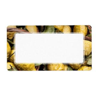 Elegant Italian Lemon Basket Amalfi Coast Lemons Label