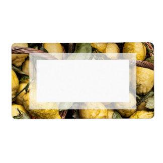 Elegant Italian Lemon Basket Amalfi Coast Lemons Shipping Labels