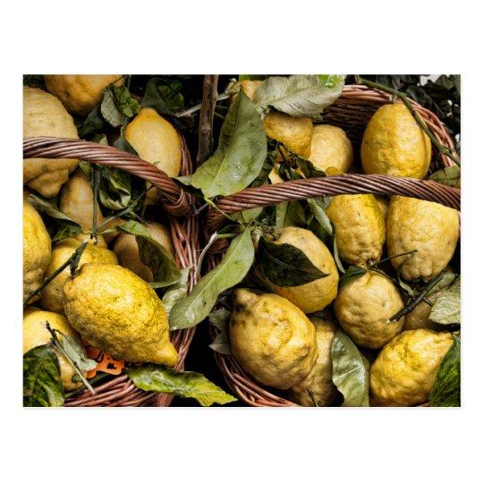 Elegant Italian Lemon Basket Amalfi Coast Lemons Postcard