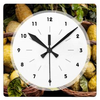 Elegant Italian Lemon Basket Amalfi Coast Lemons Square Wall Clock