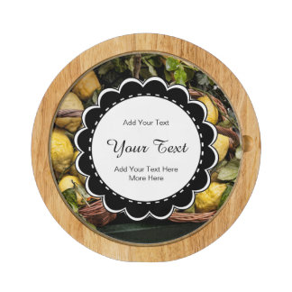 Elegant Italian Lemons in a Basket Cheese Board