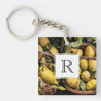 Elegant Italian Lemons in a Basket Keychain