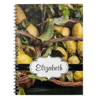 Elegant Italian Lemons in a Basket Spiral Note Book