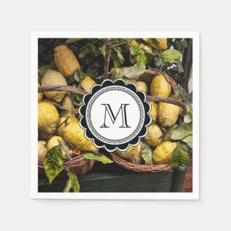 Elegant Italian Lemons in a Basket Paper Napkin
