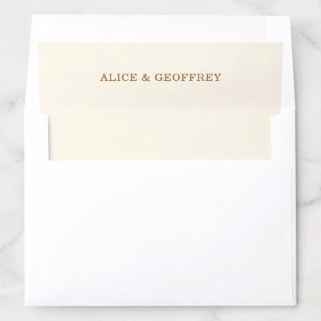 Elegant Ivory and Copper Names Wedding Envelope Liner