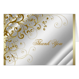 Elegant Ivory and Gold Swirls Thank You Card