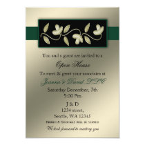 Elegant Ivory and Green Corporate party Invitation
