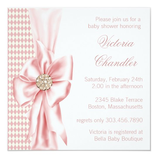 Elegant Ivory and Pink Baby Girl Shower Card
