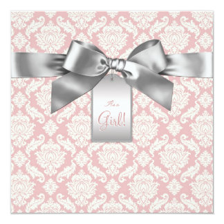 Elegant Ivory and Pink Damask Baby Shower Personalized Invitations
