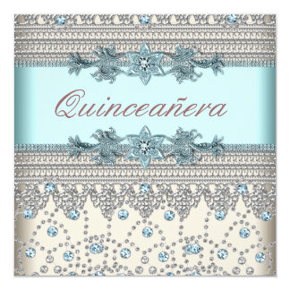 Elegant Ivory and Teal Blue Quinceanera Card