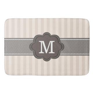 Elegant Ivory Beige Stripes Brown Custom Monogram Bath Mat