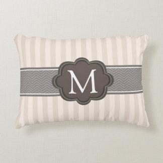 Elegant Ivory Beige Stripes Brown Custom Monogram Decorative Pillow