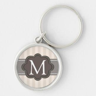 Elegant Ivory Beige Stripes Brown Custom Monogram Keychain