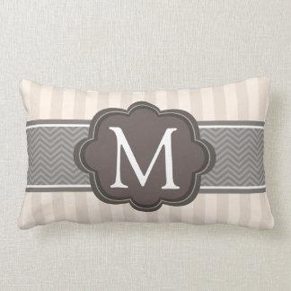 Elegant Ivory Beige Stripes Brown Custom Monogram Lumbar Pillow