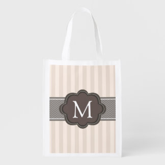 Elegant Ivory Beige Stripes Brown Custom Monogram Market Tote