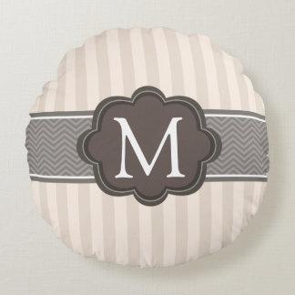 Elegant Ivory Beige Stripes Brown Custom Monogram Round Pillow