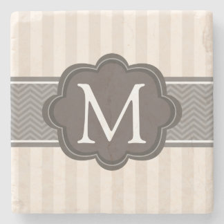 Elegant Ivory Beige Stripes Brown Custom Monogram Stone Coaster