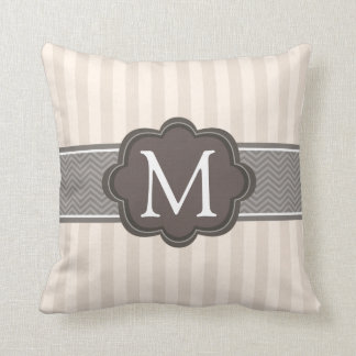 Elegant Ivory Beige Stripes Brown Custom Monogram Throw Pillow