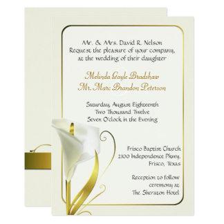 Charming Elegant Ivory Calla Lily Wedding Invitation