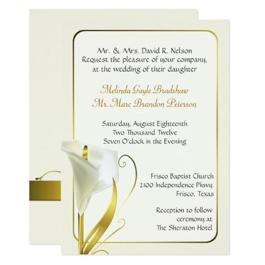 elegant ivory calla lily wedding invitation | zazzle, Wedding invitations