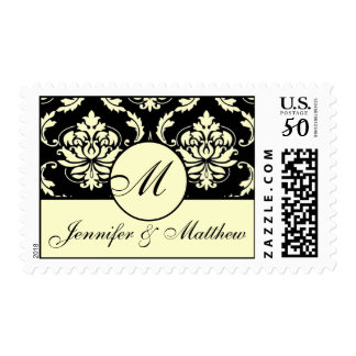 Elegant Ivory Damask Wedding Monogram Postage