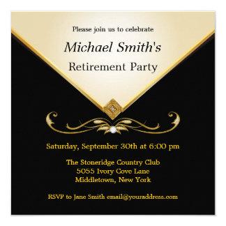 "Elegant Ivory Gold Black Special Event Invitations 5.25"" Square Invitation Card"
