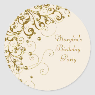 Elegant Ivory Gold Swirl Stickers