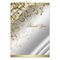 Elegant Ivory Gold Swirl Thank You