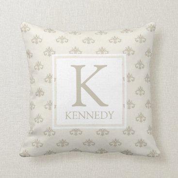 monogram_bouquet Elegant Ivory Monogram Throw Pillow