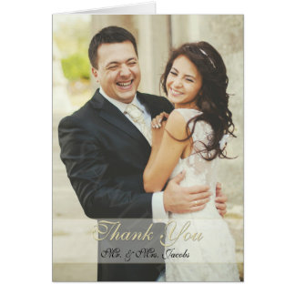 Elegant Ivory Photo Wedding Thank You Folded Cards