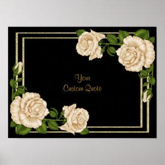 Elegant Ivory Roses & Gold Glitter Birthday Poster