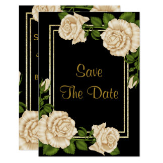 Elegant Ivory Roses & Gold Glitter Save The Date Card