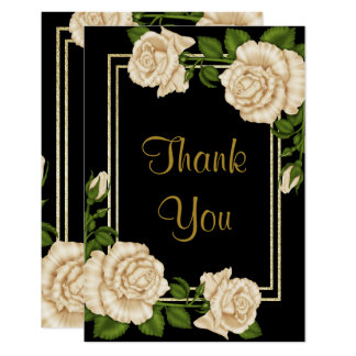 Elegant Ivory Roses & Gold Glitter  Thank You Card