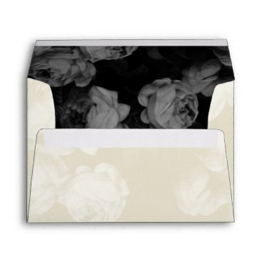 Halloween Themed Elegant Ivory Roses Wedding Invitation Envelopes
