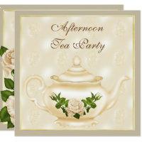 Elegant Ivory Teapot & Roses Afternoon Tea Card