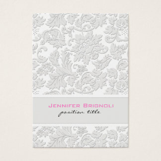 Elegant Ivory White Floral Damasks Embossed Effect Business Card